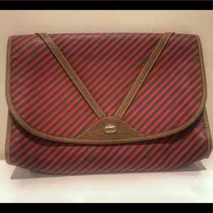 Green and Red Striped Gucci large clutch